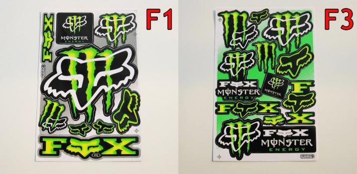 samolepky Akrapovič, Monster, Red Bull, TLD, Fox, 46, BMW...