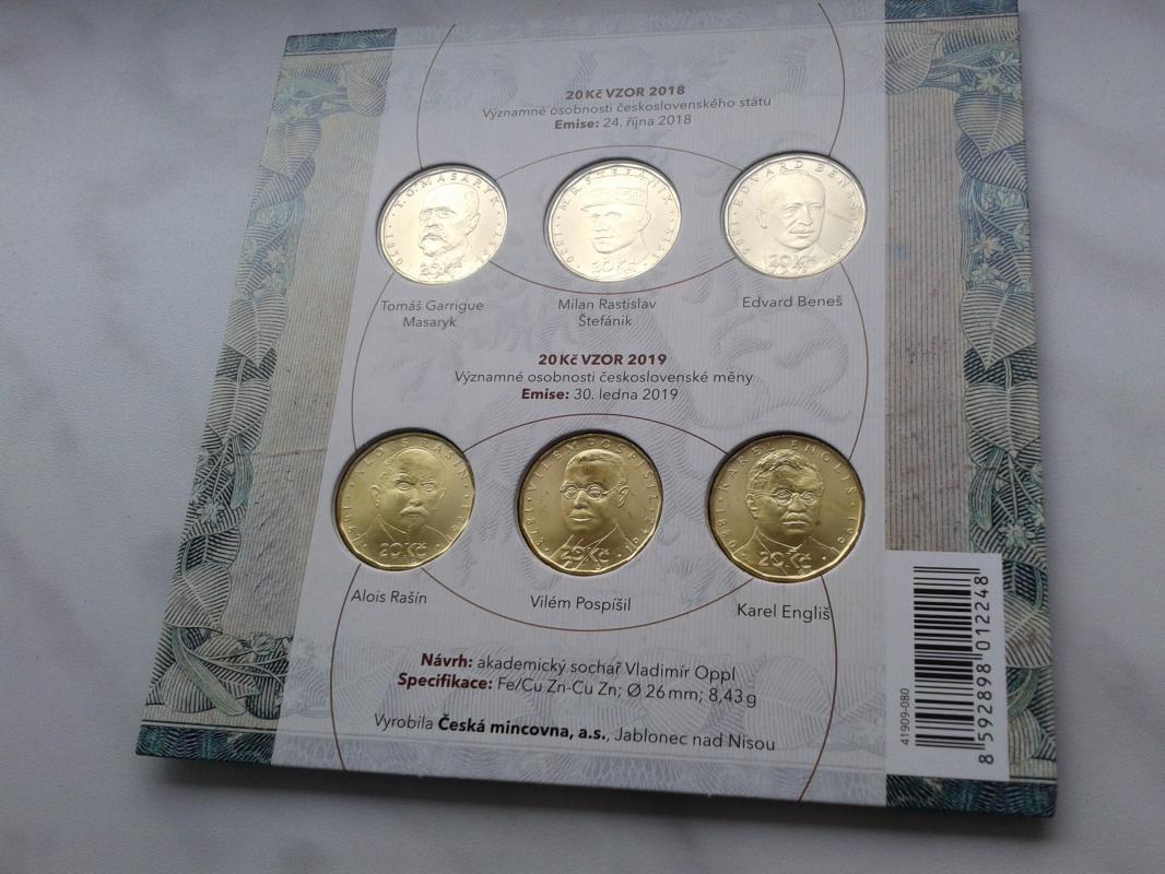 pamětní oběhové mince 20 Kč vzor 2018 a 2019